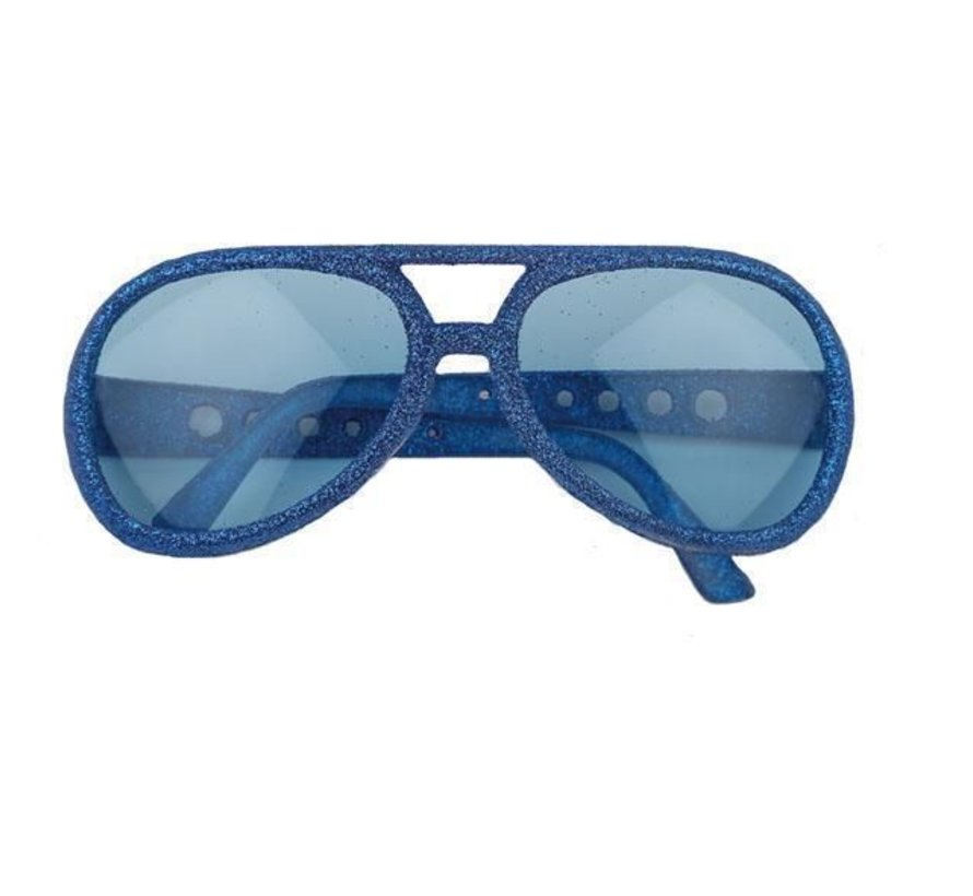 Blauwe disco bril met glitter montuur | Party Bril