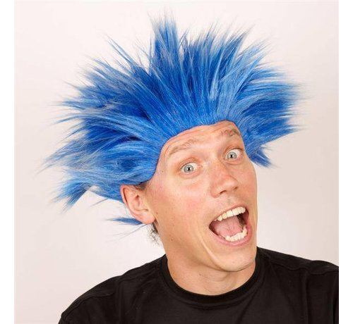 Partyline Pruik Electric Shock Blauw