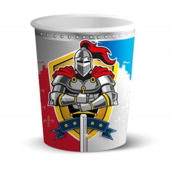 8 bekers met opdruk van ridders