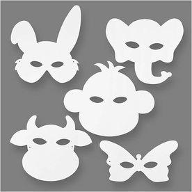 Dierenmaskers, h: 13-24 cm, b: 20-28 cm, 16stuks