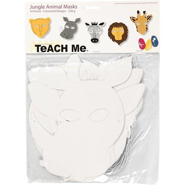 Creativ Company Jungledierenmaskers, h: 22,5-25 cm, b: 20,5-22,5 cm, 16stuks, 230 gr
