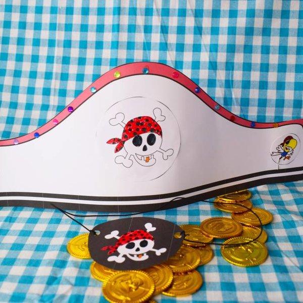 Knutselpakket ooglapje en piratenhoed maken