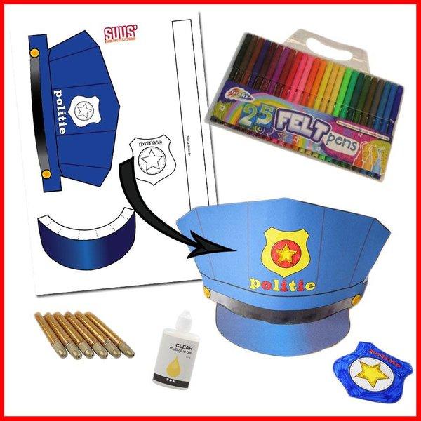 Knutselpakket badge en politiehoed knutselen
