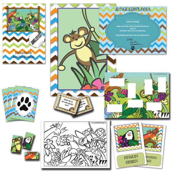 Themapakket jungle speurtocht, pakket voor een groep van 10 kinderen