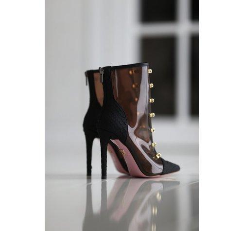Yarose Shulzhenko Designer transparent python ankle boots