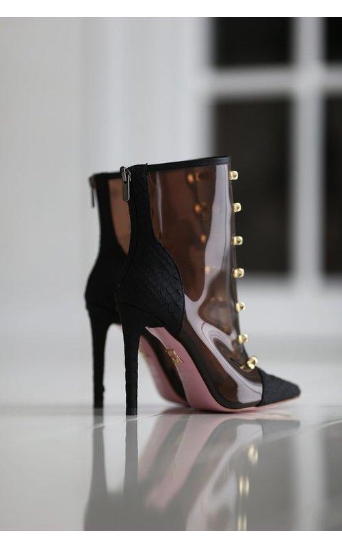 Leren laarzen met hak en goudkleurige knopen Zwart