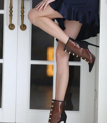 Yarose Shulzhenko Designer transparent ankle boots python