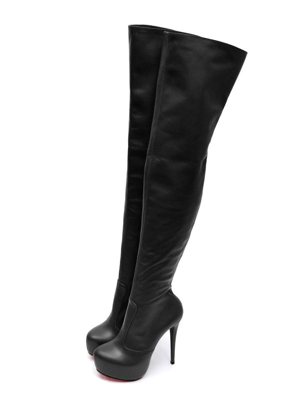 Yarose Shulzhenko Designer Italian high platform leather thigh boots