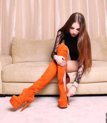 Yarose Shulzhenko Designer Italian high orange platform suede thigh boots