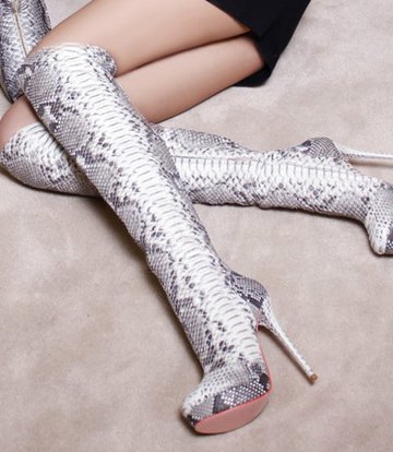 Yarose Shulzhenko Designer Italiaanse overknee python platform dijlaarzen
