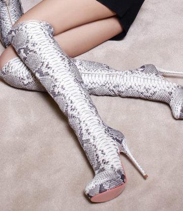 Yarose Shulzhenko Designer Italian thigh high python platform thigh boots
