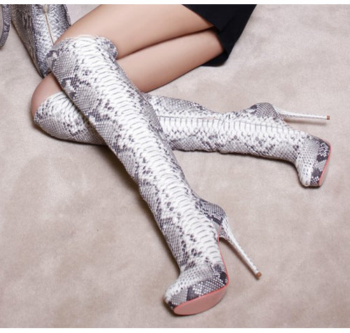Yarose Shulzhenko Designer thigh high python boots
