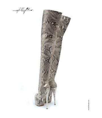 Yarose Shulzhenko Designer Italian python platform thigh boots