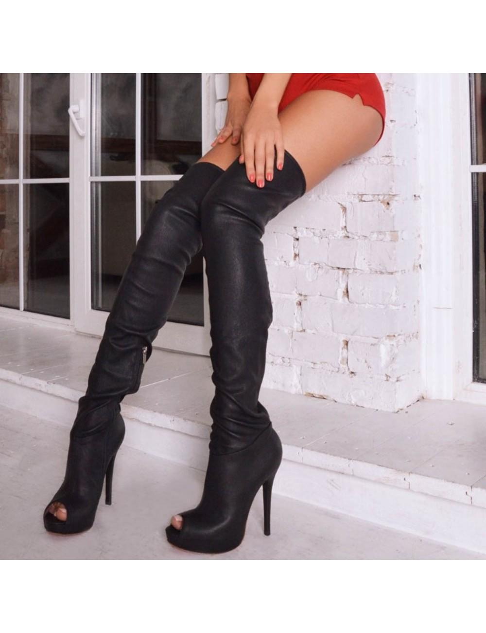 Yarose Shulzhenko Designer Italian stretch platform thigh boots in suede - Copy