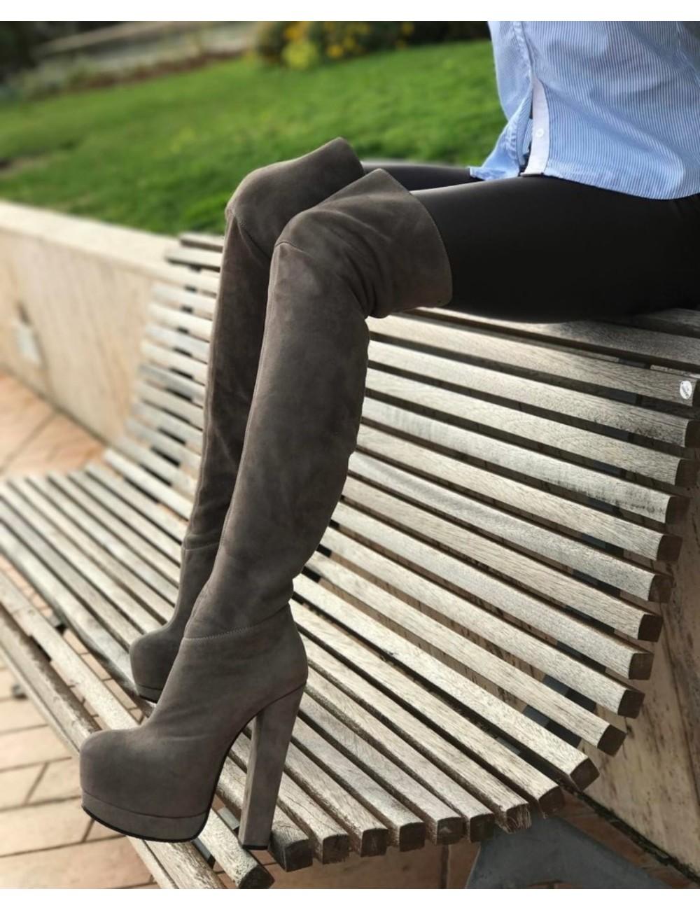 Designer Italian stretch platform thigh boots in suede