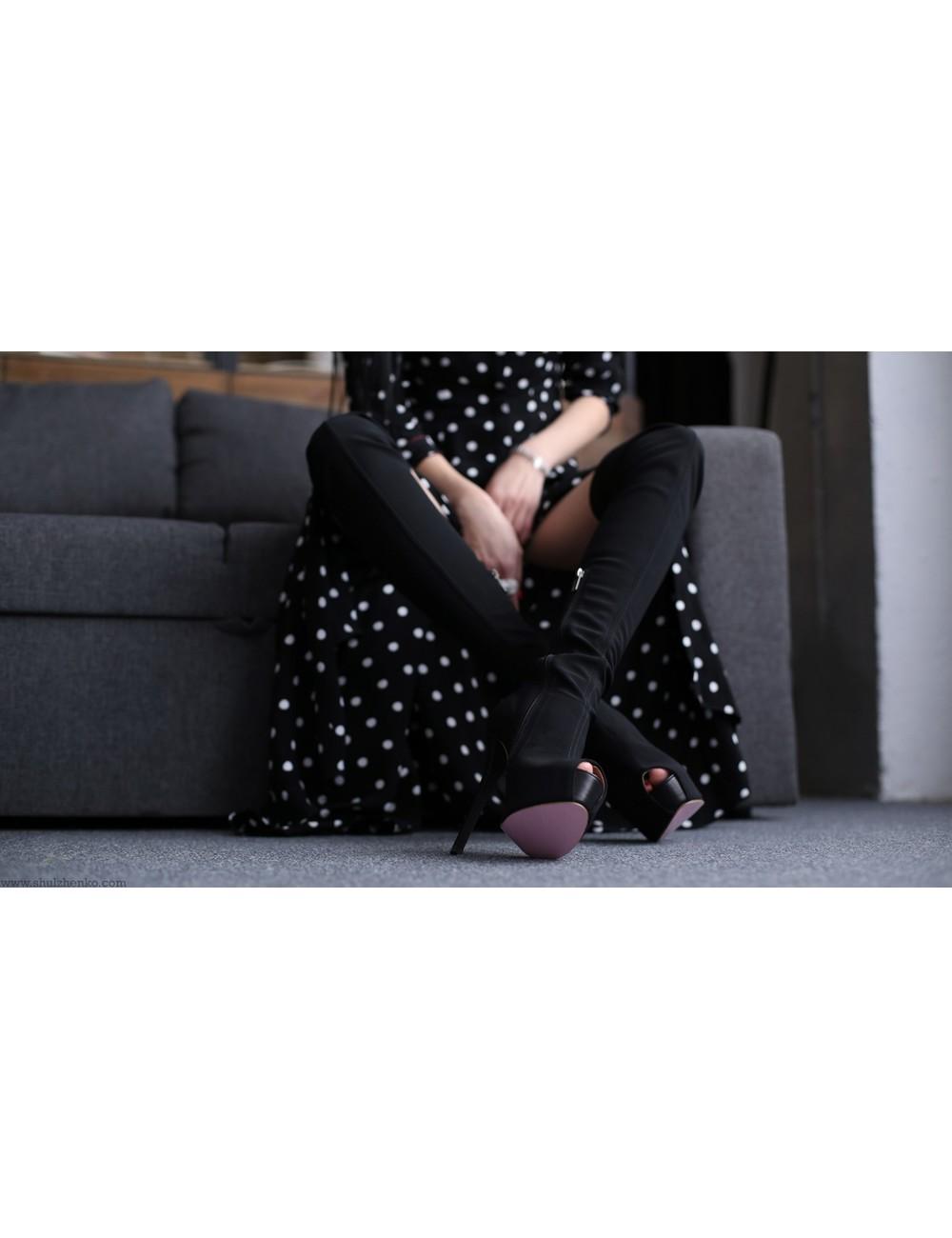 Yarose Shulzhenko Designer stretch suede platform thigh boots with open nose