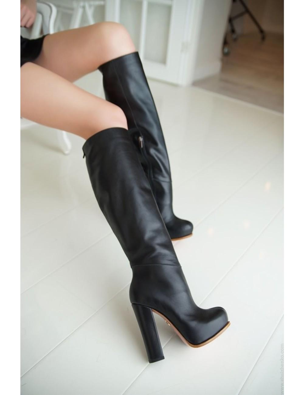 Yarose Shulzhenko Designer Italian platform leather knee boots