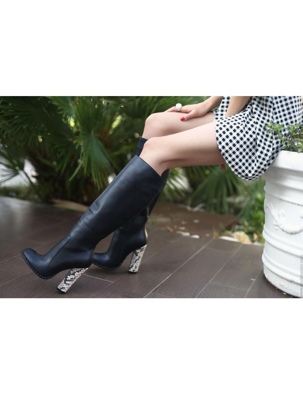 Yarose Shulzhenko Designer Italian knee boots with chunky python heels
