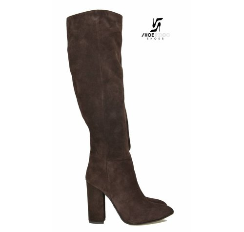 Sanctum Shoes DBL100 - ITALIAN KNEE BOOTS CHOCO SUEDE VELOUR