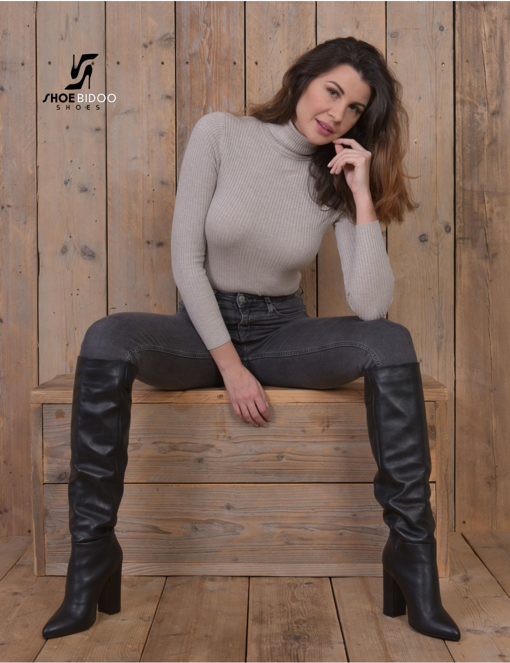 Olga in Italian leather knee boots