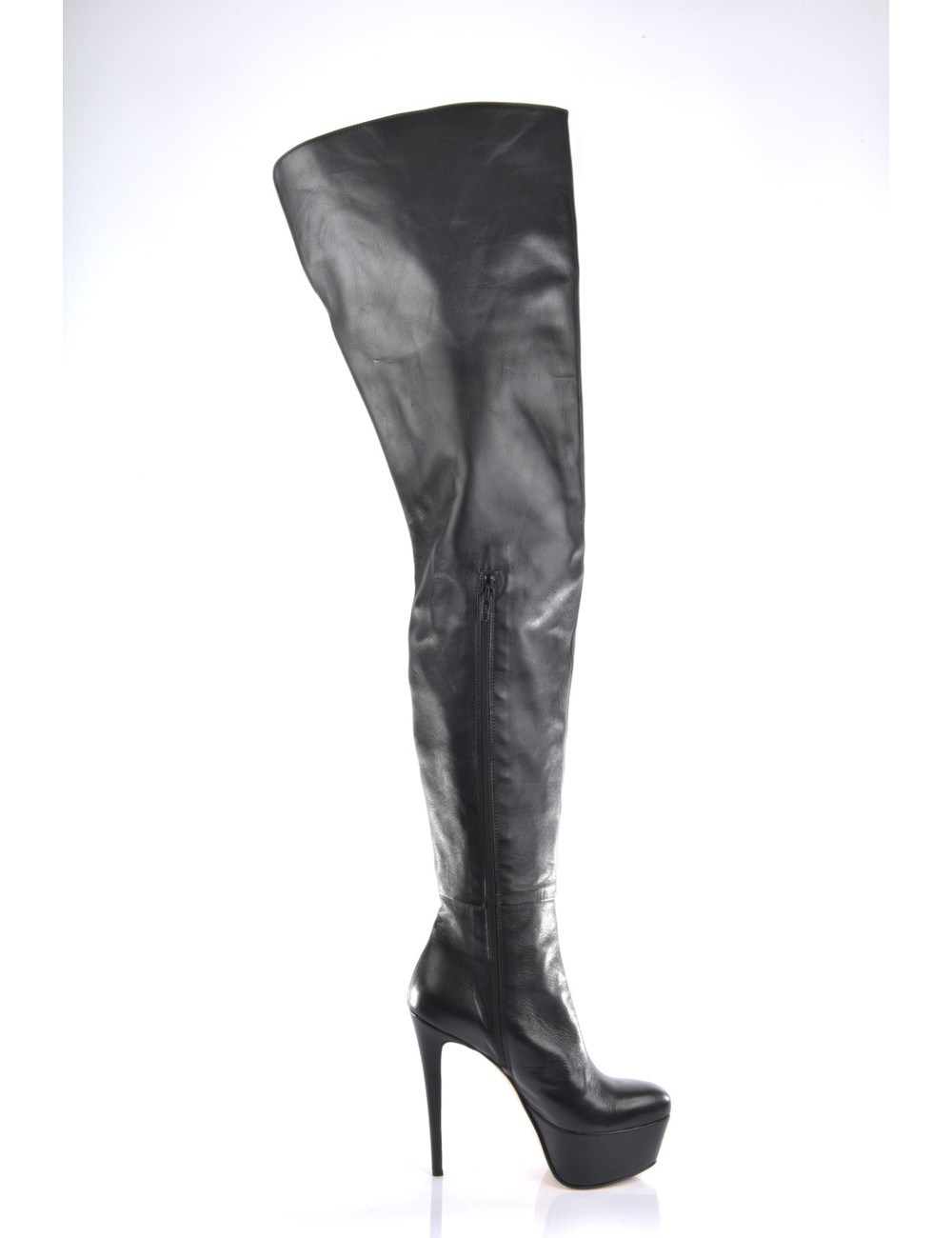 High thigh boots with platform heels in