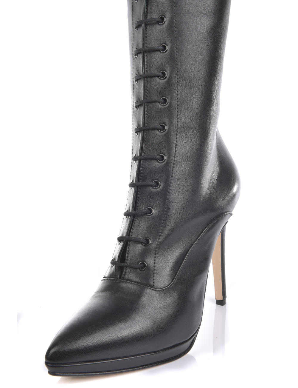 Sanctum  High Italian lace-up knee boots JUNO with stiletto heels in genuine leather