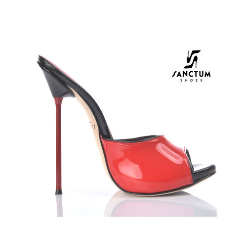 Sanctum  MAIA - EXTREME BLACK RED SHINY MULES