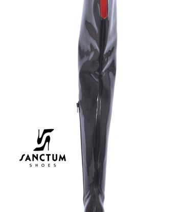 Sanctum  Extra hoge Italiaanse lieslaarzen GAIA met naaldhakken in echt lakleer