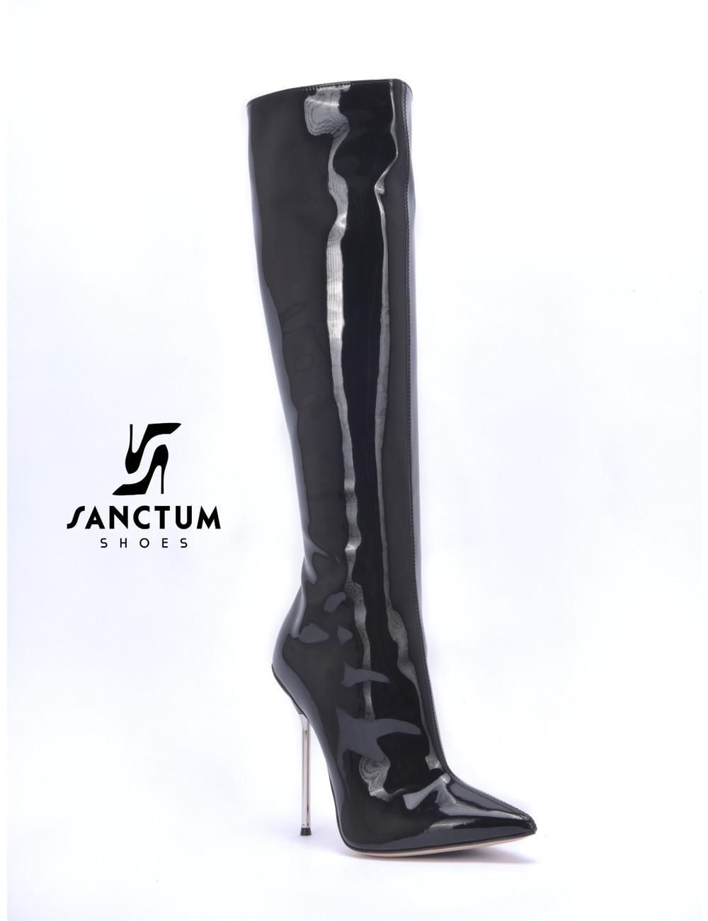Sanctum  High Italian knee boots GAIA with stiletto heels in genuine patent leather