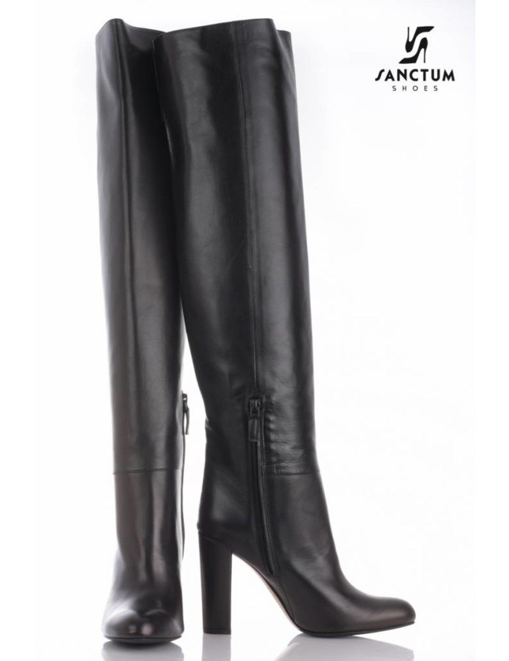Sanctum  Long thigh high boots with high block heels