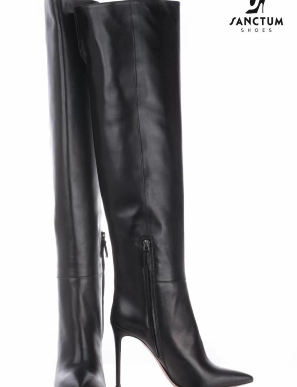 Sanctum  Long Italian thigh high boots with thin heels