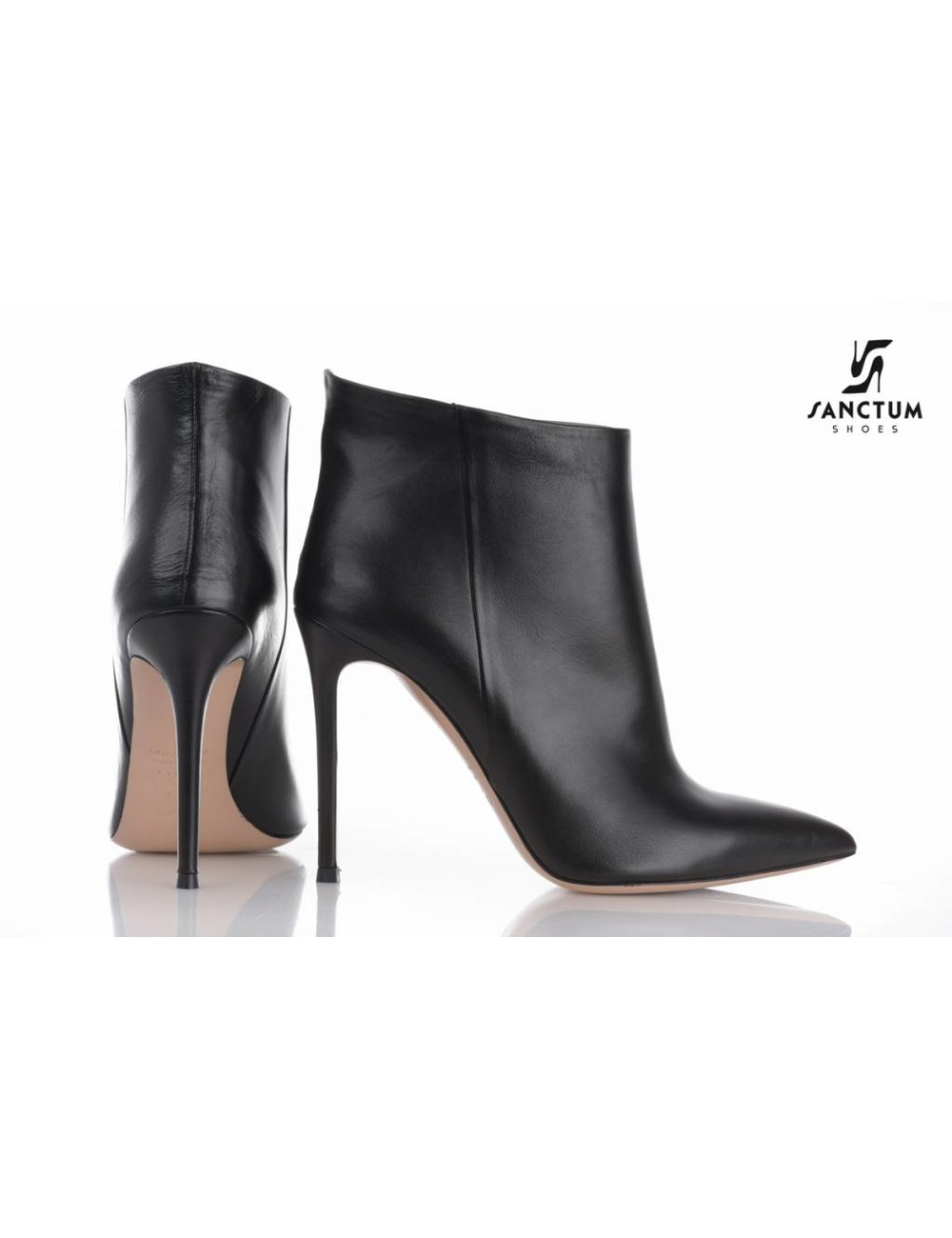 Sanctum  Designer pointy ankle boots without zipper with thin heels