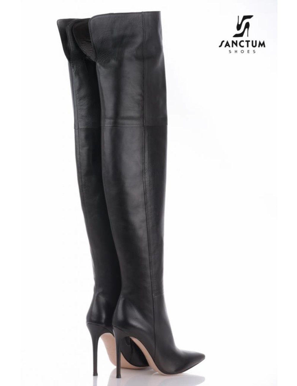 Italian leather boots with thin heels