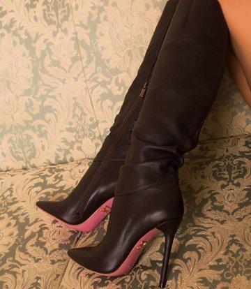 Yarose Shulzhenko Designer zwart lederen knielaarzen
