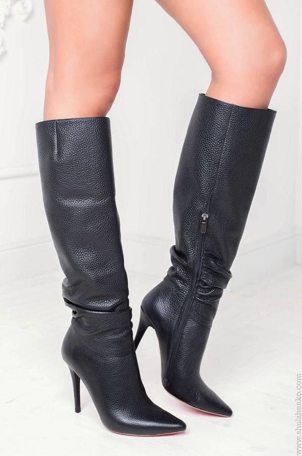 Designer black leather knee boots