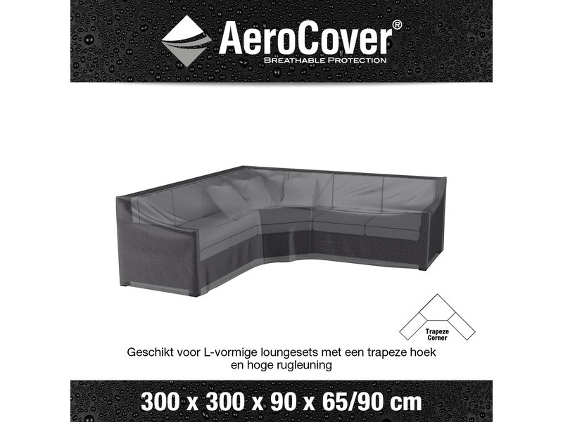Aerocover L vormige loungesethoes 300x300x90 cm.