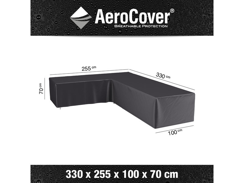 Aerocover L vormige loungesethoes 330x255x70h cm. - links
