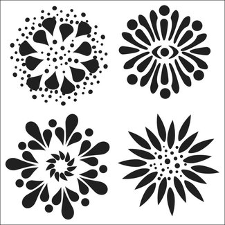 The Crafter's Workshop Stencil Mini 4 Flowers
