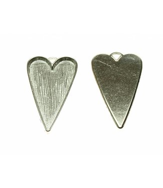 Pendant Heart Silver Colored per piece