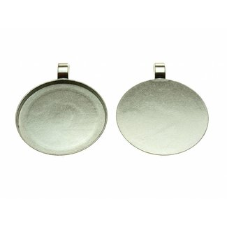 Pendant Round & Smooth Silver Colored per piece