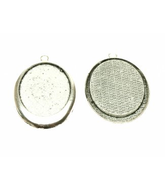 Pendant Oval Silver Colored per piece
