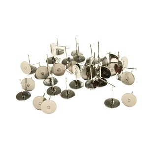 Stainless steel Ear stud adhesive surface 8 mm. (incl. stopper) 10 pairs