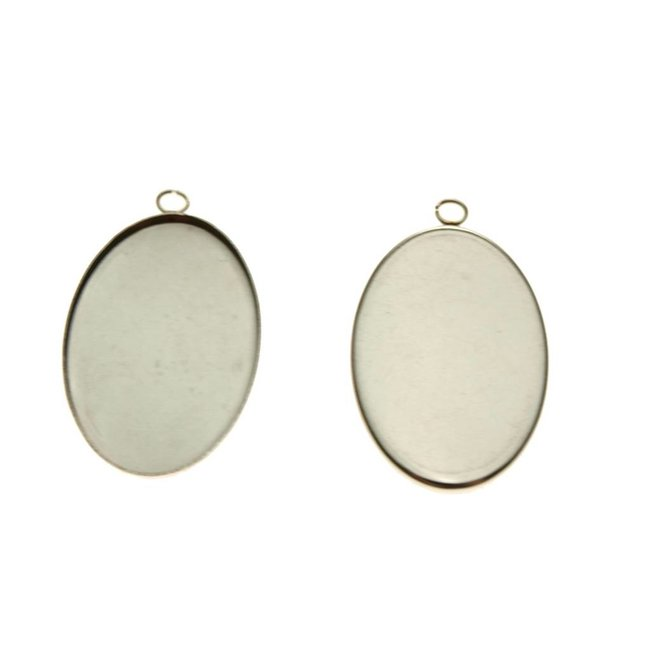 Pendant Oval stainless steel per piece