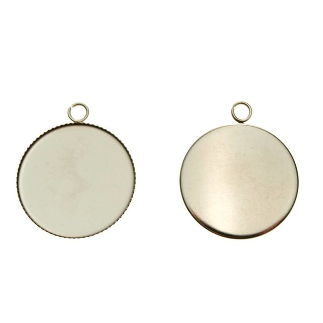 Pendant Round 25 mm. Stainless steel 3 pieces