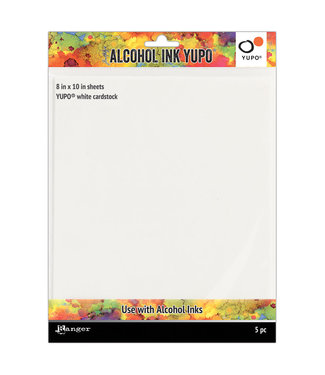 Ranger Yupo Paper 8 inch x 10 inch. White Cardstock 5 pieces