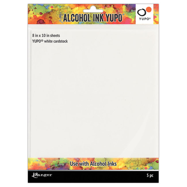 Ranger Yupo Paper White Cardstock 8 inch x 10 inch. 5 pieces
