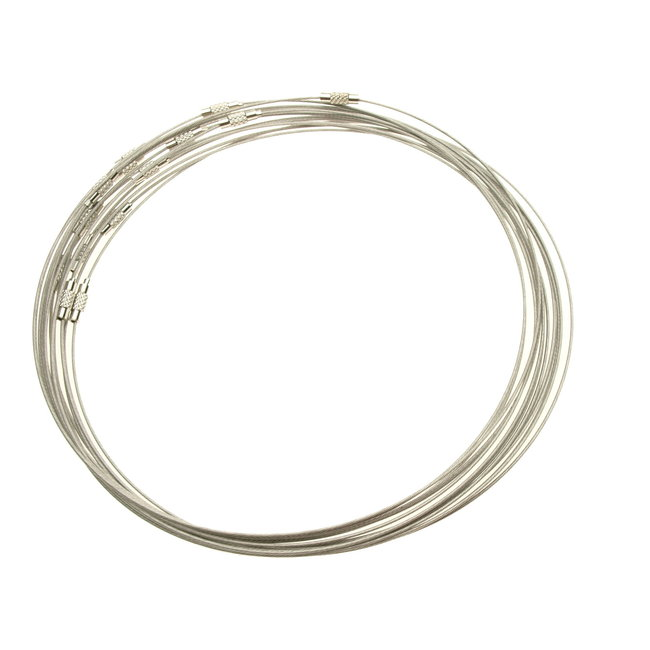 """Silver colored choker with twist lock 17.5""""- 45 cm. wire 1 mm."""