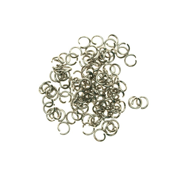 Stainless steel jump rings 6 mm. thickness 1,0 mm. 50 pieces