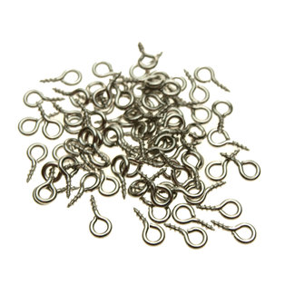 Stainless steel eyelets with screw thread length 8 mm. 10 pieces