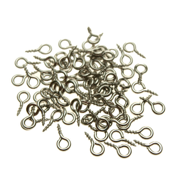 Stainless steel eyelets with screw thread 8 x 4 mm. hole 2 mm. 10 pieces